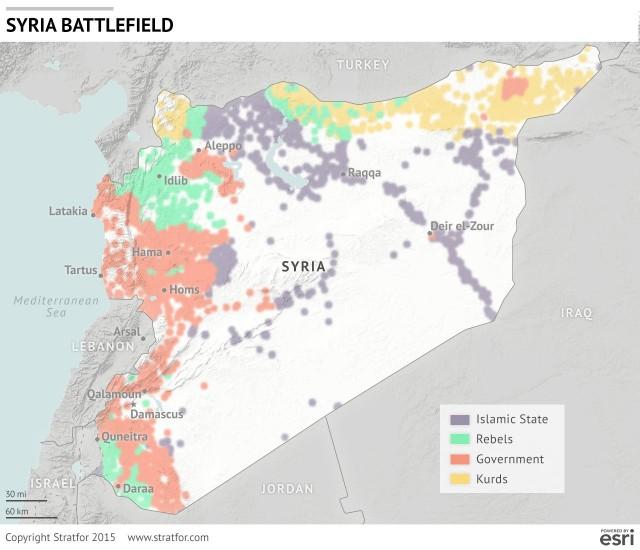Το σημερινό σκηνικό στη Συρία.Το ISIS πιο περικυκλωμένο από ποτέ(πηγή:Stratfor)