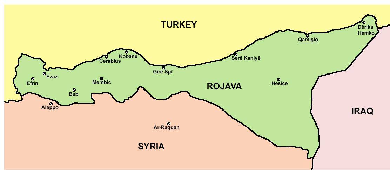Χάρτης των διεκδικούμενων εδαφών της Ροζάβα