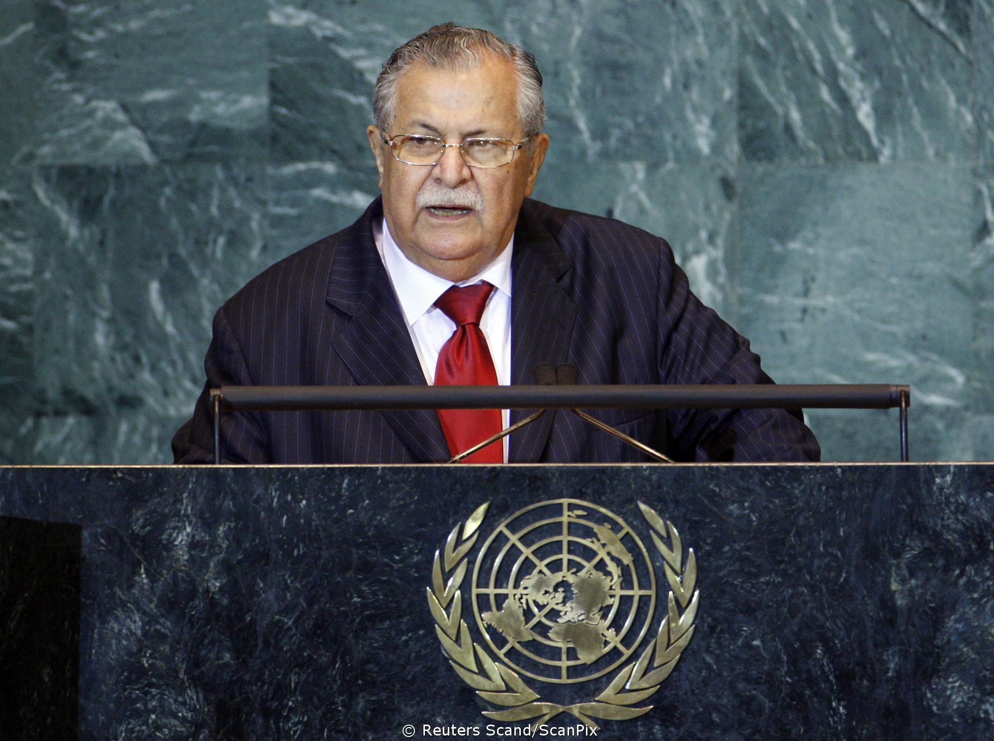 President of Iraq Jalal Talabani addresses during the 63rd United Nations General Assembly at U.N. headquarters in New York September 25, 2008. REUTERS/Mike Segar (UNITED STATES)