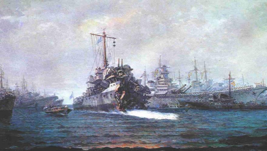 Το Α/Τ ΑΔΡΙΑΣ ενώ εισέρχεται στο λιμάνι της Αλεξάνδρειας υπό τις επευφημίες των συμμαχικών πλοίων. Ενδεικτικό της σφοδρότητας της έκρηξης είναι ότι τα πυροβόλα της πλώρης βρίσκονται πάνω στην γέφυρα του πλοίου.