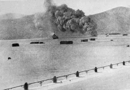 Το Α/Τ ΒΑΣ. ΟΛΓΑ και το HMS INTREPID ενώ δέχονται αεροπορική επίθεση στο Λακί Λέρου.