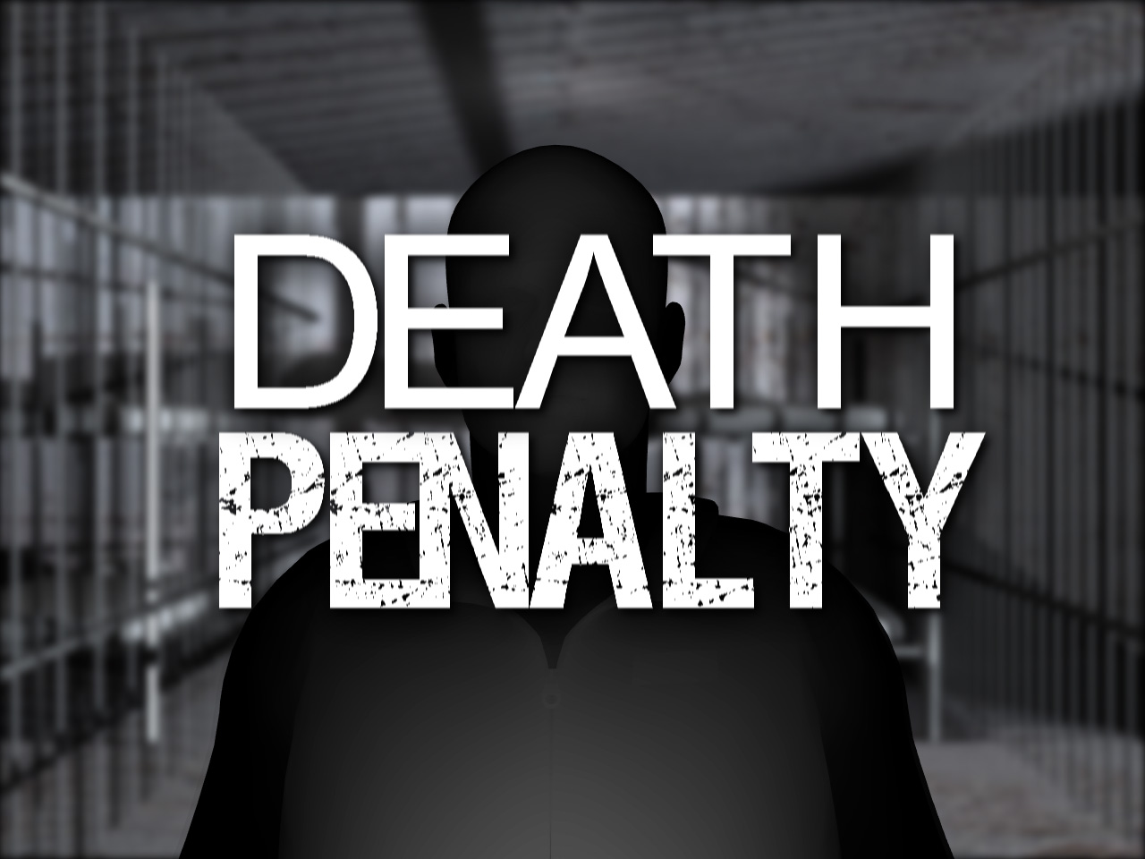 "An unknown man in a jail and in front it's written ""DEATH PENALTY"""