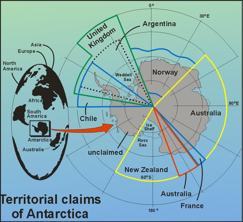 Χάρτης της Ανταρκτικής με σημειωμένες τις εδαφικές διεκδικήσεις διαφόρων κρατών.