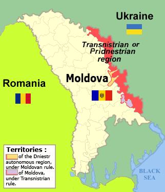 Transistria-Moldova-Roumania region map
