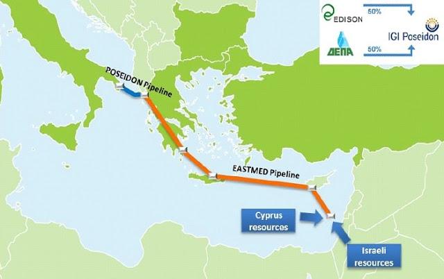O αγωγός EastMed_Poseidon και η γεωγραφική θέση της Ελλάδας